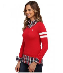U.S. Polo Assn svetr Plaid Shirt With Scoop U.S. Polo Assn.