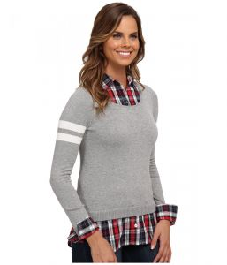 U.S. Polo Assn svetr Plaid Shirt With Scoop Neck Pullover Twofer U.S. Polo Assn.