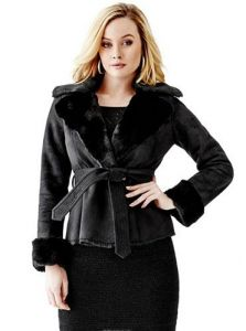 GUESS kabát Faux-Fur Collar Leatherette Coat