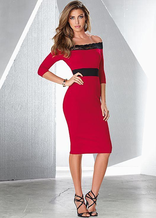 VENUS šaty OFF THE SHOULDER LACE DRESS červená