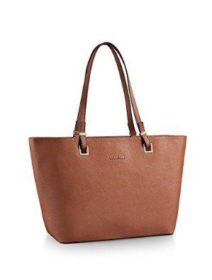 Calvin Klein kabelka Scarlett Saffiano Leather Tote hnědá