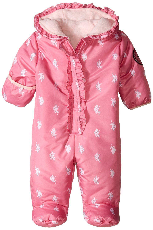 U.S. Polo Assn. luxusní dívčí overal Ruffled Logo-Print Puffer Pram Suit tmavě růžová