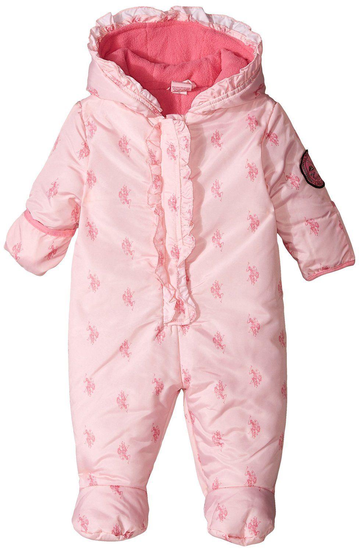 U.S. Polo Assn. luxusní dívčí overal Ruffled Logo-Print Puffer Pram Suit světle růžová