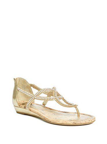 GUESS sandále Jamila Rhinestone Sandals zlatá