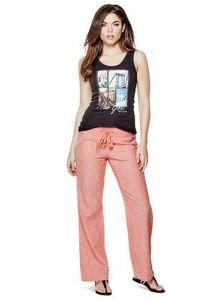 GUESS kalhoty Lilybeth Linen Pants korálová