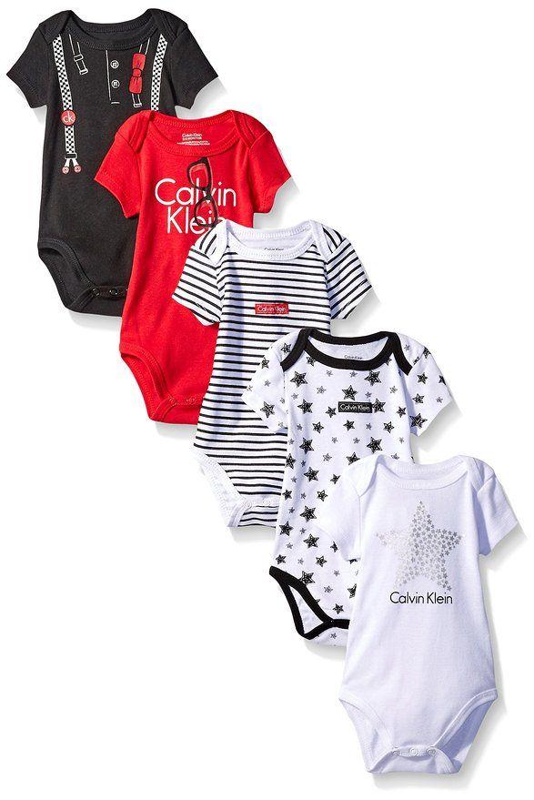 Calvin Klein luxusní bodýčka pro miminka 5 Pack Bodysuit Assorted Short Sleeve červená