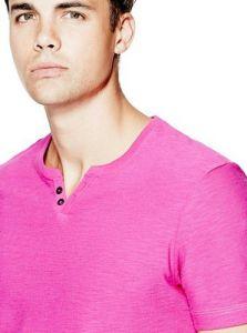GUESS pánské tričko Ricky Henley Tee růžová