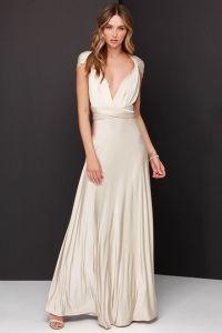 Lulus dámské šaty Always Stunning Convertible Maxi Dress béžová