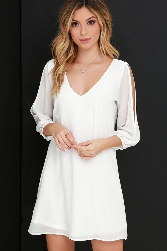 Lulus dámské šaty Shifting Dears Long Sleeve Dress slonovina