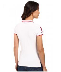 U.S. Polo Assn polo tričko Embellished Quilted Shoulder Polo Shirt bílá U.S. Polo Assn.