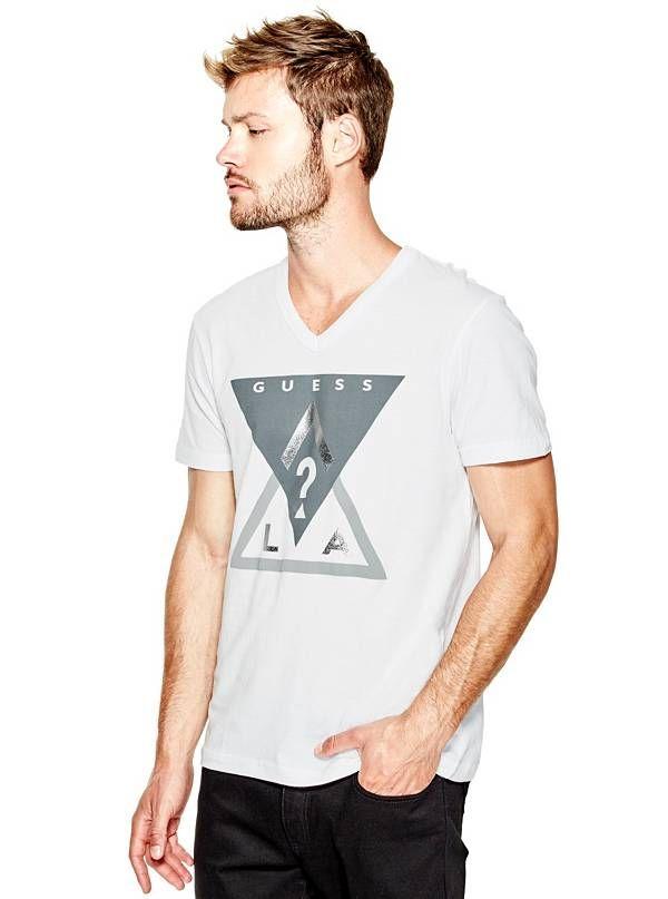 GUESS triko Chip Logo Tee bílá