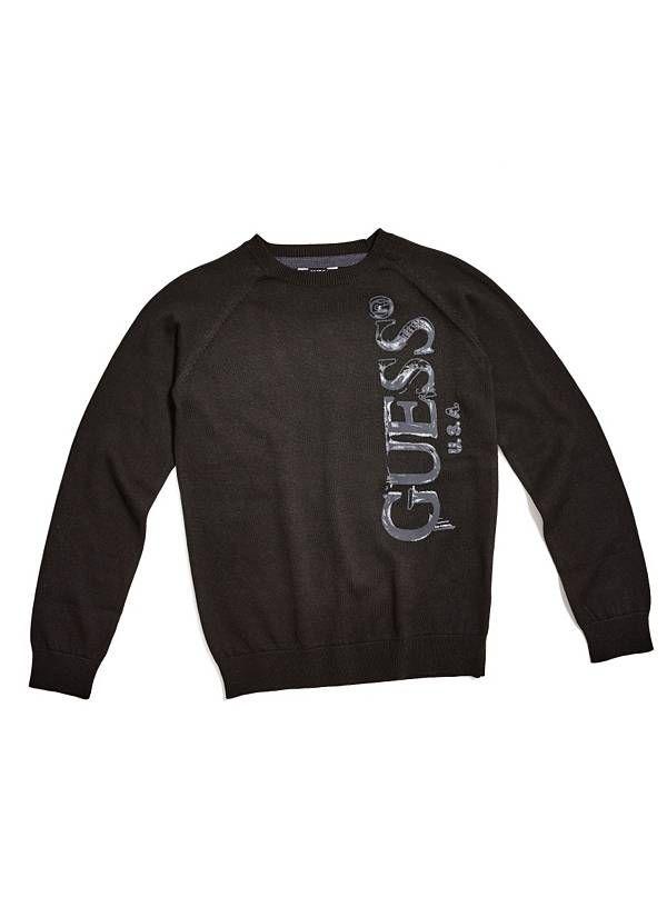 GUESS svetr Noel Logo Sweater černá