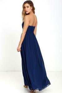 Lulus dámské šaty All Afloat Strapless Maxi Dress tmavě modrá