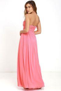 Lulus dámské šaty All Afloat Strapless Maxi Dress korálová růžová