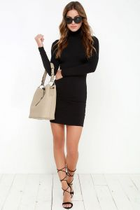 Lulus dámské šaty High Hopes Long Sleeve Bodycon Dress černá