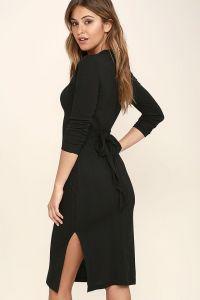 Very J dámské šaty Wrapped Around Your Finger Heather Bodycon Midi Dress černá