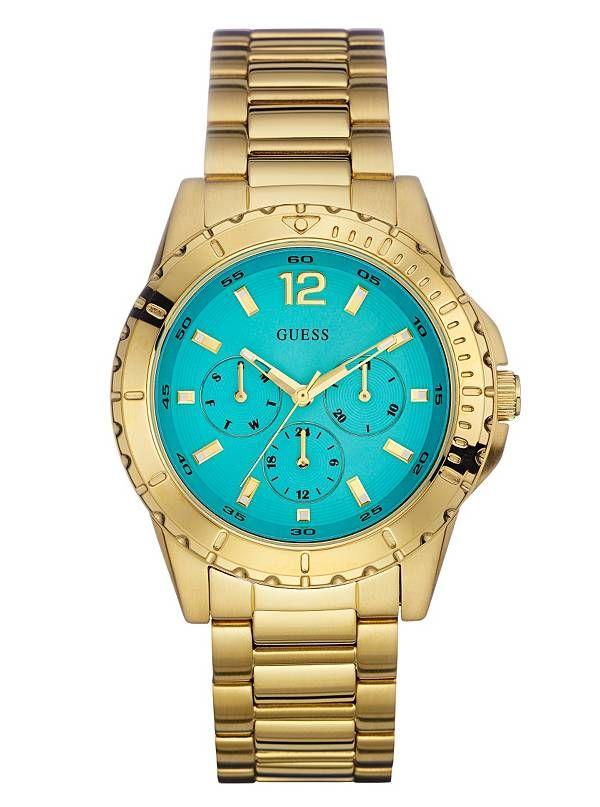 GUESS hodinky Gold-Tone Multifunction Watch zlatá