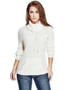 GUESS svetr Willa Funnel-Neck Sweater bílá