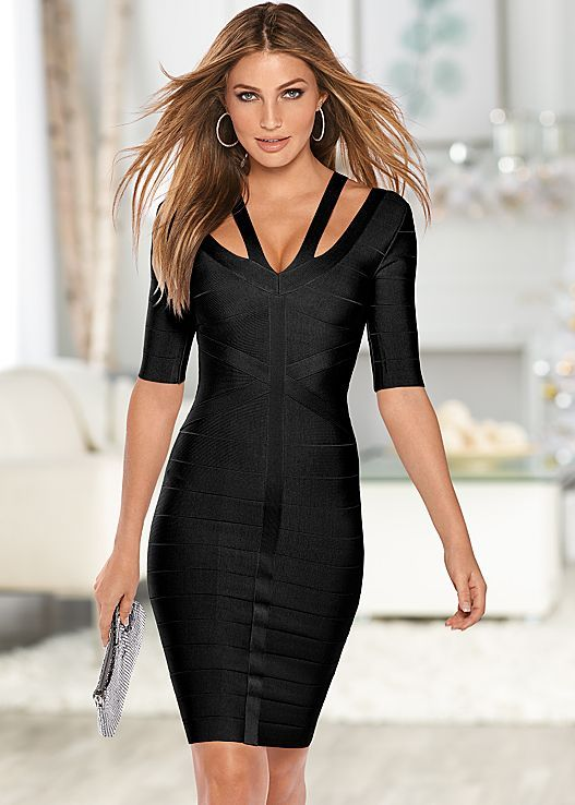 VENUS šaty SLIMMING STRAP DETAIL DRESS