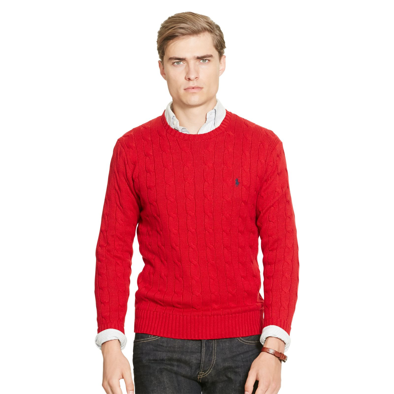 Ralph Lauren svetr Cable - Knit Tussah Silk Sweater červená