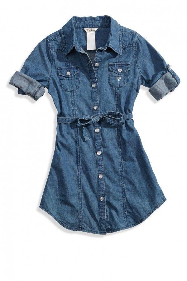 GUESS šaty Dawn Chambray Shirtdress