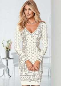 VENUS šaty TEXTURED BEADED DRESS