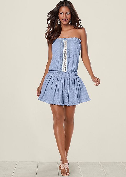 VENUS šaty EYELET DRESS WITH BEADING