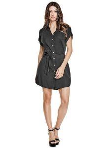 GUESS šaty Maren Tencel Shirtdress černá