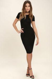 Lulus dámské šaty Like Minded Black Bodycon Midi Dress