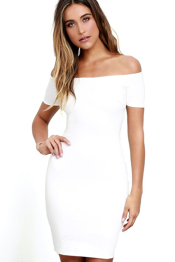 Lulus dámské šaty Me Oh My White Off-the-Shoulder Bodycon Dress
