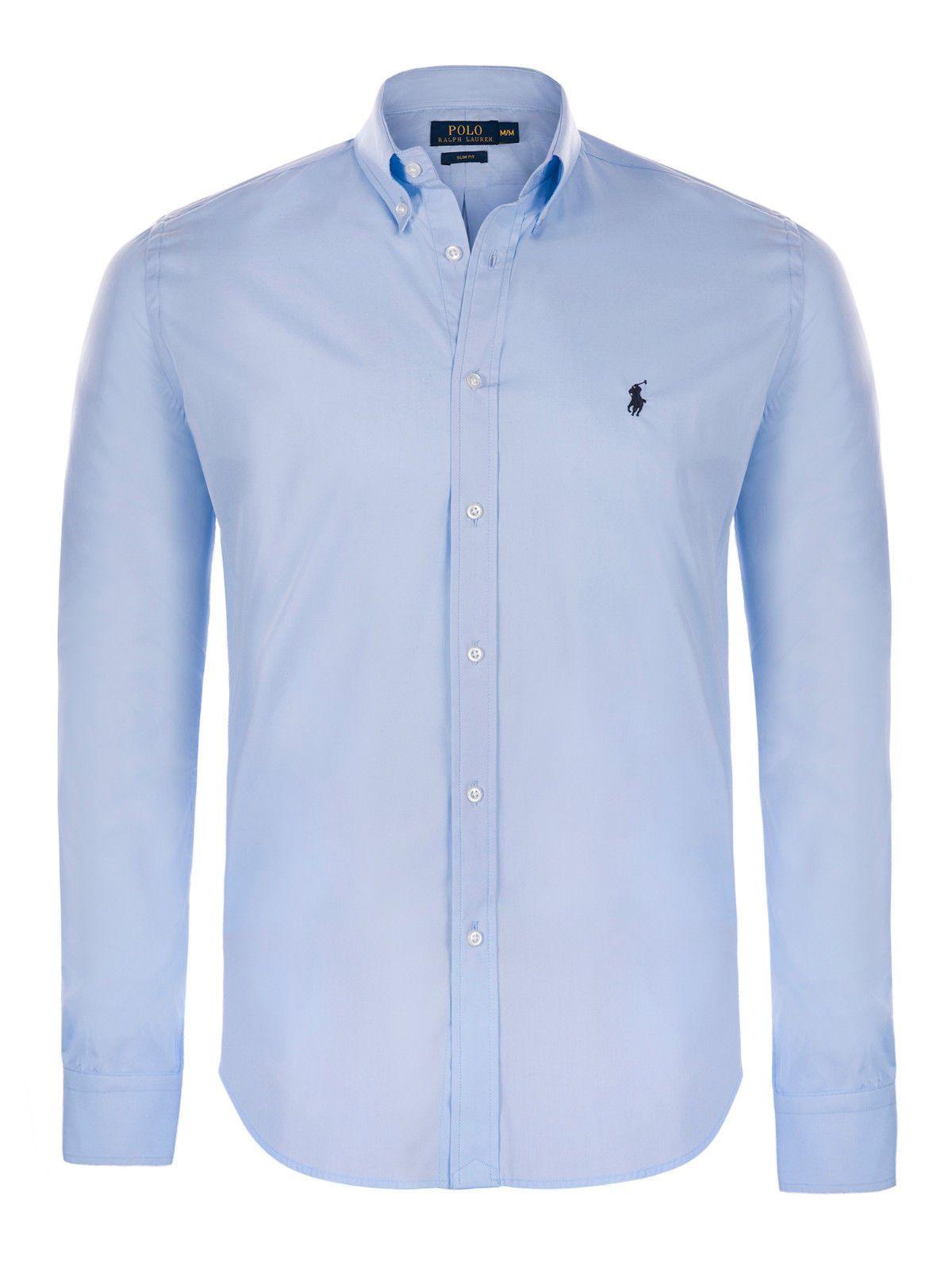 Ralph Lauren košile Slim-Fit Solid Poplin Shirt modrá