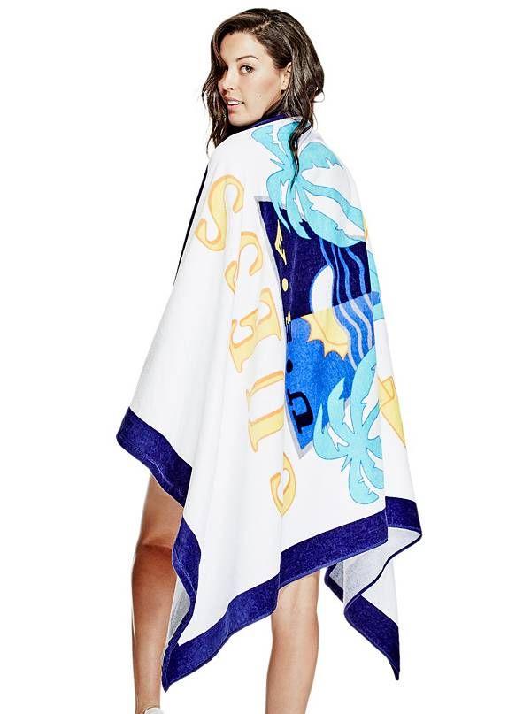 GUESS deka, podložka Tropical Beach Towel bílá