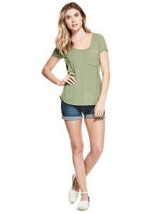 GUESS dámské tričko Desirae Pieced Top zelená