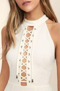 Lulus dámské šaty Hold you tight white lace-up bodycon dress