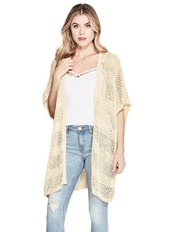 GUESS svetr Andi Crochet Cardigan béžová