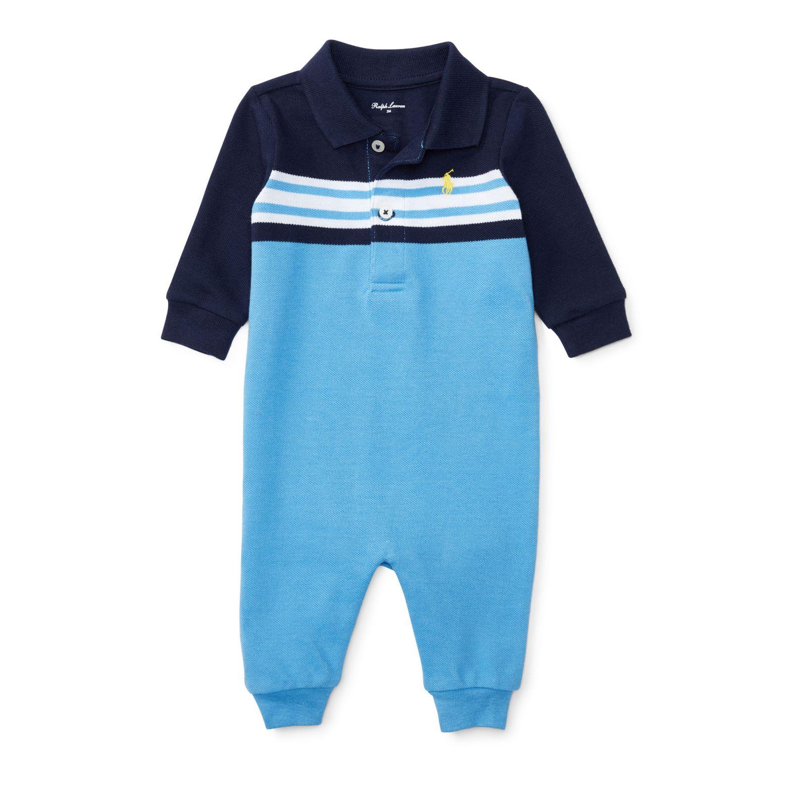 Ralph Lauren oblečení pro miminko Cotton Mesh Polo Coverall modrá