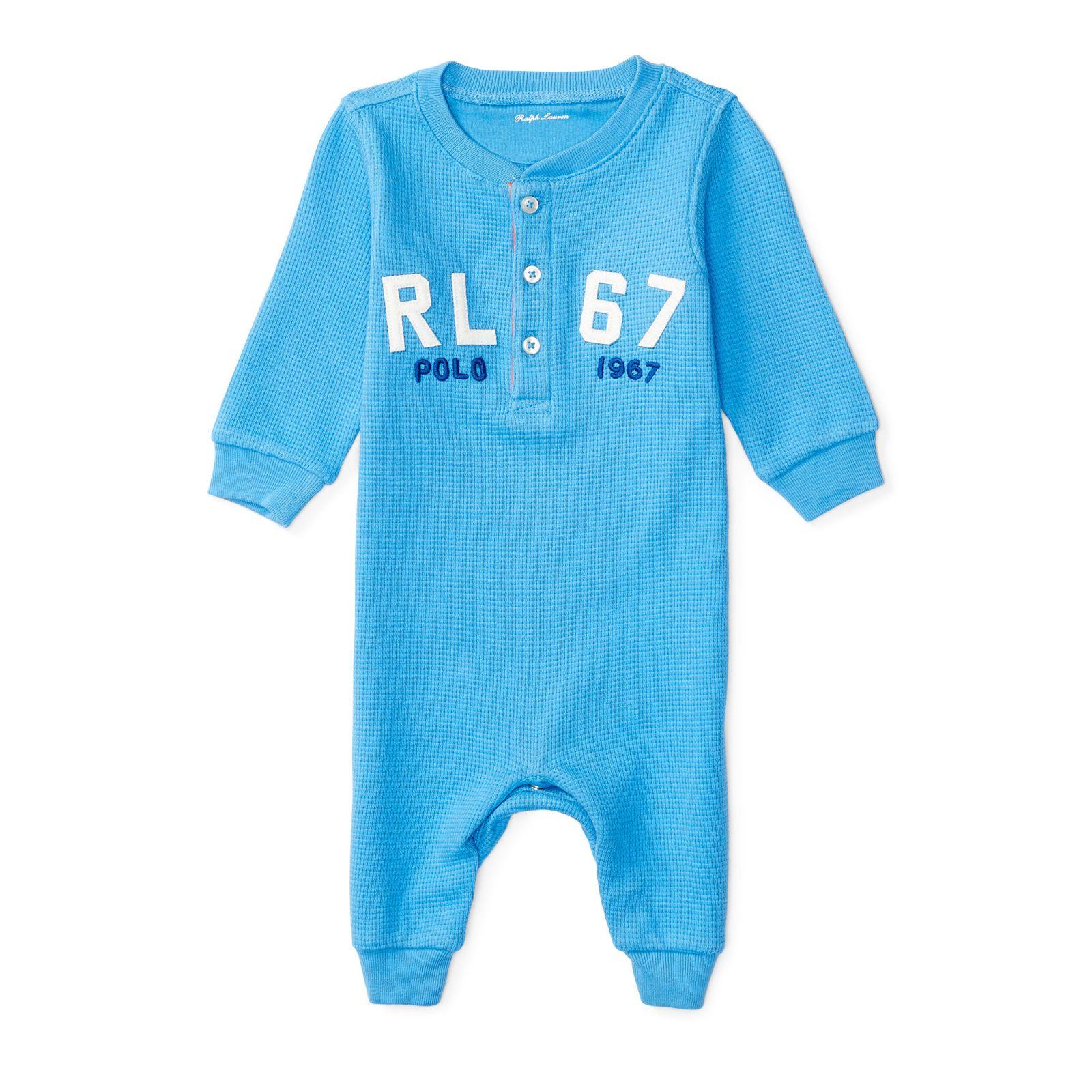 Ralph Lauren oblečení pro miminko Waffle-Knit Cotton Coverall modrá