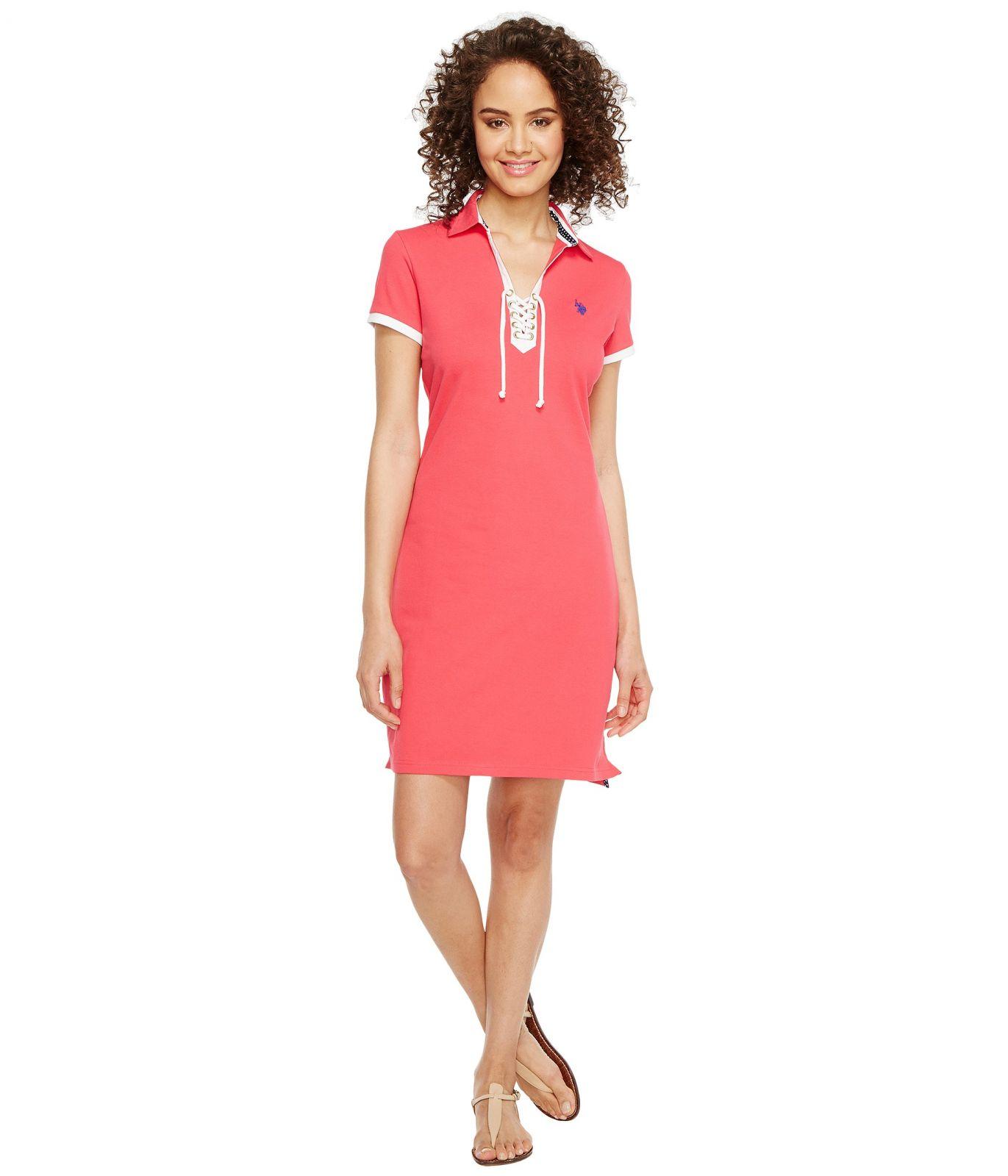 U.S. Polo Assn šaty Lace-Up Pique Polo Dress barevná U.S. Polo Assn.