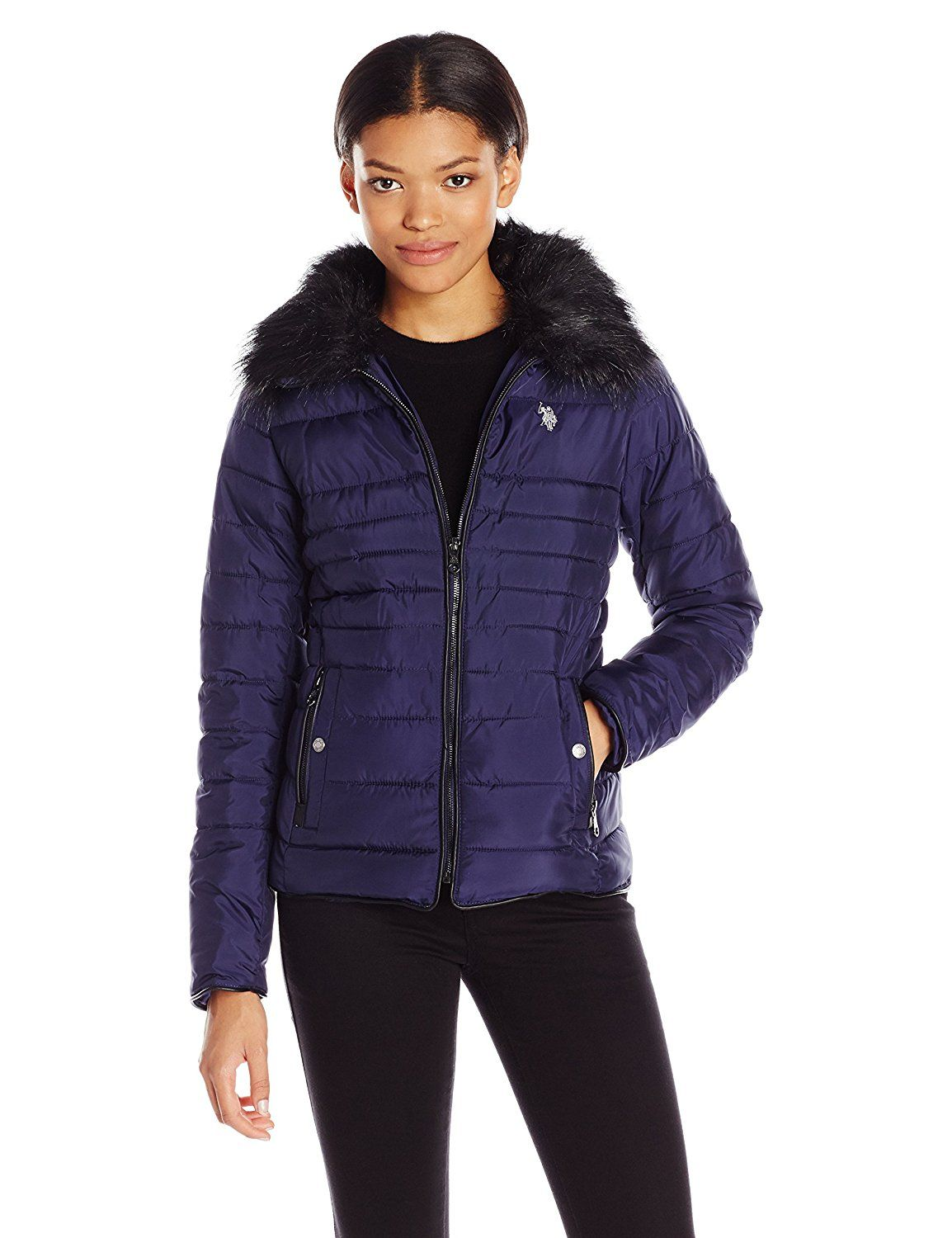 U.S. Polo Assn bunda Puffer Fashion Jacket with Faux Fur Collar U.S. Polo Assn.