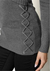 VENUS svetr SIDE LACE UP SWEATER