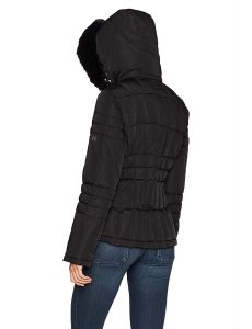 Calvin Klein bunda Down Jacket with Faux Fur Trimmed Hood černá