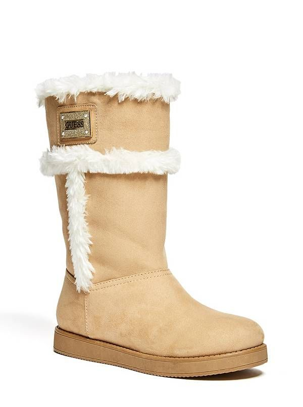 GUESS boty Hetty Faux-Shearling Boots hnědá