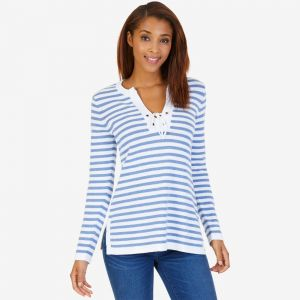 Nautica svetr Long Sleeve Striped Tunic Sweater