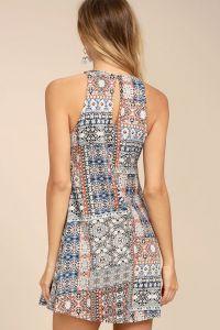 Lulus dámské šaty Design Major Red Print Swing Dress