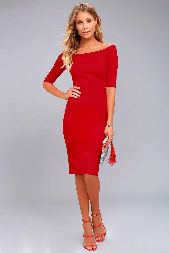 Lulus dámské šaty Girl Can't Help It Off-the-Shoulder Midi Dress