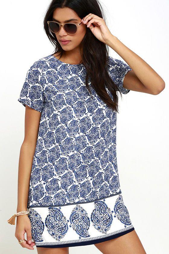 Lulus dámské šaty Taj Mahal Tour Blue Print Shift Dress