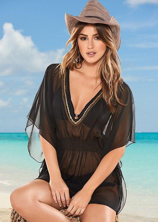 VENUS plážové šaty BEADED V NECK PONCHO