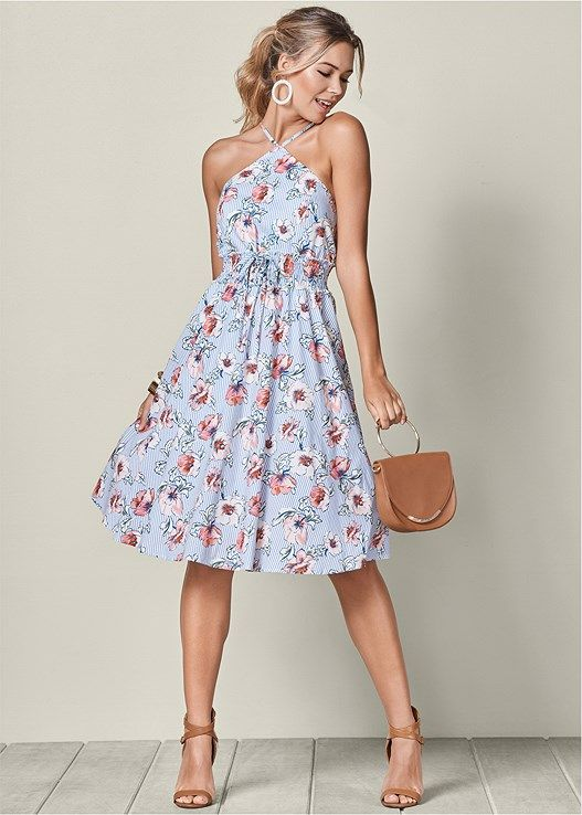 VENUS šaty FLORAL PRINT MIDI DRESS