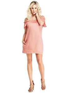 GUESS šaty Avah Off-The-Shoulder Dress