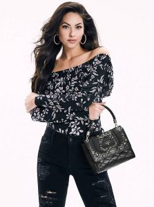 GUESS kabelka Alessia Embroidered Top Handle Flap Bag
